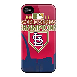Tpu Case Cover For Iphone 4/4s Strong Protect Case - St. Louis Cardinals Design