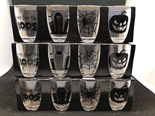 Halloween Shot Glass (Set of 12 Halloween Shot Glasses! Shatter Proof ! They holds a Full 2 oz. They are Resilient and are VERY HARD to break. Durable Packs, each with Halloween Theme Glasses . MAKES GREAT GIFT)