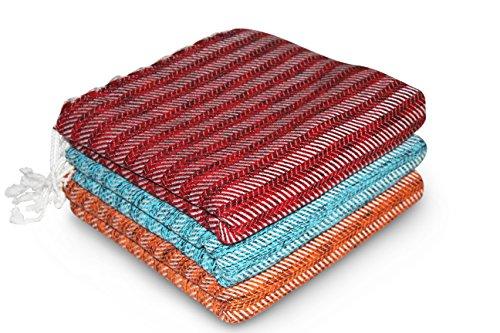 - LaModaHome (SET OF 3) Chevron Stripe Turkish Cotton Bath Beach Hammam Towel Peshtemal Blanket, Red Turquoise Orange
