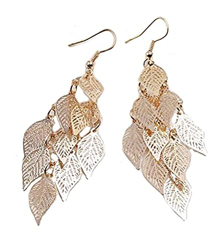 SunIfSnow Women Filigree Leaf Tassel Long Teardrop Dangle Drop Copper Earrings Golden - Roberto Coin Elephant Jewelry Set