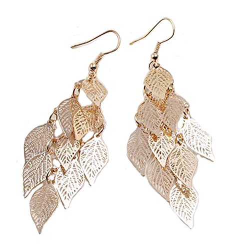 SunIfSnow Women Filigree Leaf Tassel Long Teardrop Dangle Drop Copper Earrings Golden