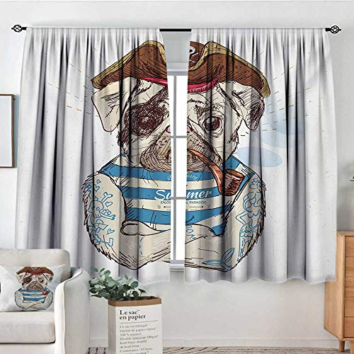 "Elliot Dorothy Rod Pocket Curtains Pug,Pirate Pug Conqueror of The Seas Pipe Skulls and Bones Hat Striped Sleeveless T-Shirt,Brown Blue,Insulating Room Darkening Blackout Drapes for Bedroom 63""X63"""