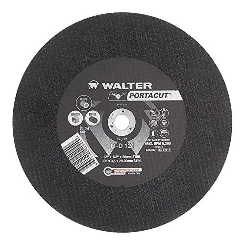 12 Diameter Silicon Carbide Walter Portacut High Speed Cutoff Wheel 12 Diameter 1//8 Thick Walter Surface Technologies 11D121 Round Hole Type 1 1//8 Thick 20mm STIHL Arbor Pack of 10 Grit C-24