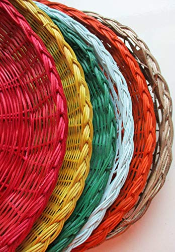 Table Painted Rattan (SIX Wicker Paper Plates Holders, Upcycled, Summer Colors, Picnics and Parties, Outdoor Dining, Al Fresco, Outdoor Fun and Games, Beach Pool Parties, Paper Plates Supports)