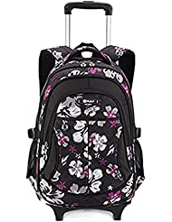 Fellibay Girls Rolling Backpack School Bags Kids Backpack with 2 Wheels for Graders