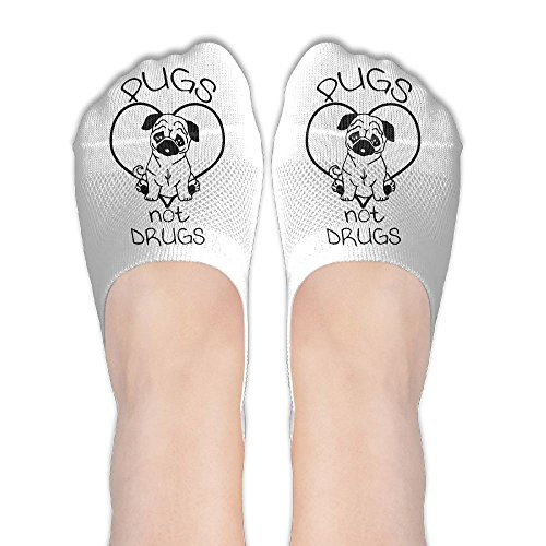 Pugs Life Not Drugs Funny Slogan Womens Non Slip Athletic Ankle Compression No Show Low Cut Socks For Yoga Train Hiking Cycling Running Sports Soccer (Best Anti Drug Slogans)