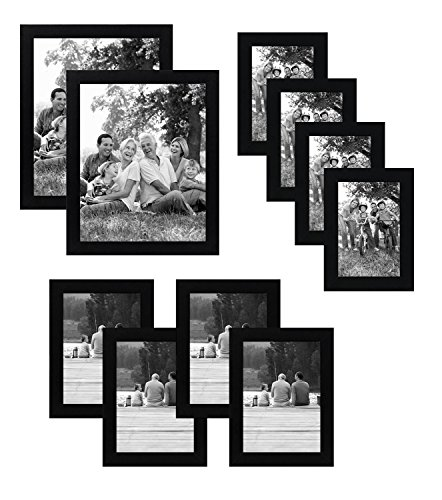 Americanflat 10-Piece Multi Pack Includes 8x10, 5x7, and 4x6 Frames, 10 Pack Gallery Set, Black