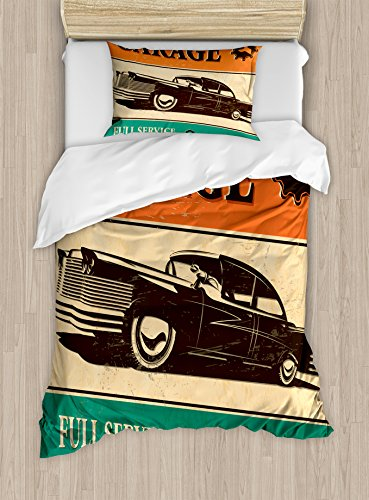 vet Cover Set Twin Size, Garage Retro Poster with Classic Car Automobile Mechanic Nostalgic 50s, Decorative 2 Piece Bedding Set with 1 Pillow Sham, Orange Beige Jade Green ()