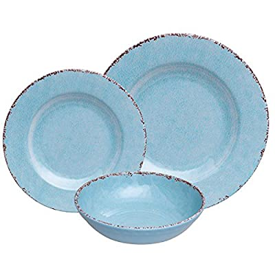 "Antique Blue 12 Piece Melamine Dinnerware Set, Rustic Farmhouse Dish Set for Everyday Use, Service for 4 - Heavy Weight Melamine Durable break resistant, chip resistant, scratch resistant Service for 4 includes: 4 each 11"" dinner plate, 9"" Salad plate, 6"" bowl - kitchen-tabletop, kitchen-dining-room, dinnerware-sets - 51w1yIjZxUL. SS400  -"