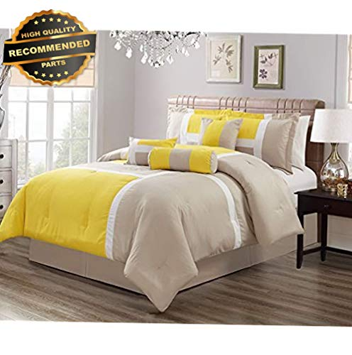 Gatton Premium New 7 Comforter Sets Piece Oversize Queen Bedding/Grey/White Color Set | Style Collection Comforter-311012796