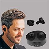 MIYA LTD Headphones Ultra Mini Twins Wireless Bluetooth V4.1 Stereo Headset Portable Charger In-Ear Hands-free Ergonomic Design Earphones With Mic Charging Box for Phones-Black