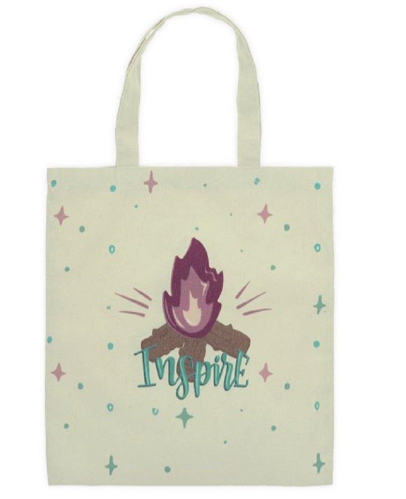 Inspire Campfire Cream Canvas Tote Bag, 16 3/4'' Tall X 15'' Wide.