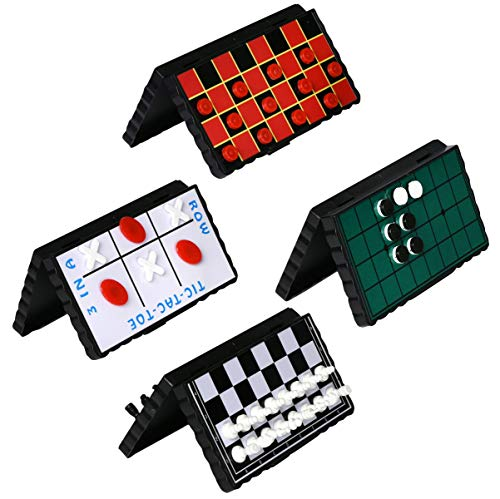 oard Game Set Bundle Pack of 4 Classic Magnetic Games for Kids Includes Individual Boards & Pieces for Checkers, Chess, Tic Tac Toe & Reversi Amazing Fun for Car or Airplane ()