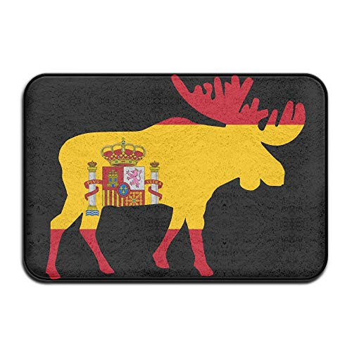 Spain Flag Moose Indoor Outdoor Entrance Rug Non Slip Standing Mat Doormat Rugs For Home by HONMAt-Non