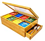 Tea Box 100% Bamboo Tea Box Chest Organizer With Slide Out Drawer, 8 Storage Compartments Clear Shatterproof Hinged Lid By Sugarman Creations