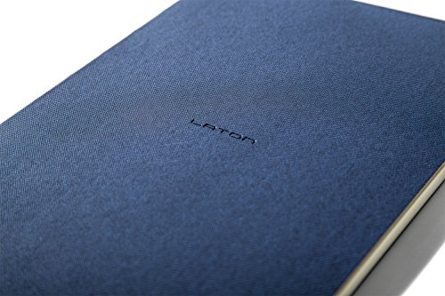 Classic Navy Blue Ruled Notebook: Vegan PU Leather Soft-cover, Numbered Pages, Perforated Tearable Sheets, Inner-Pocket, and Built-in Ruler (5. 5