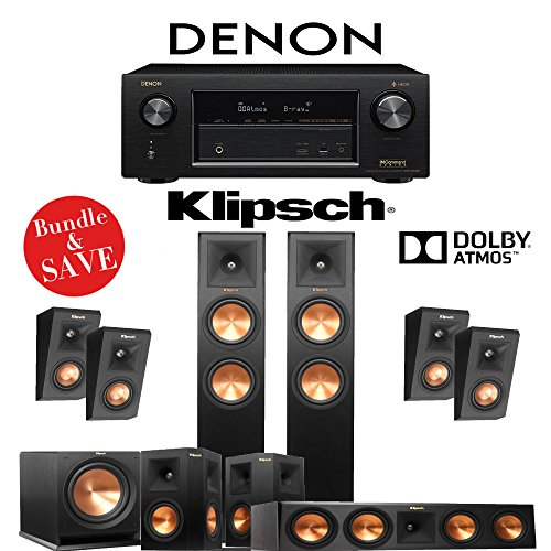 Klipsch RP-260F 5.1.4-Ch Reference Premiere Dolby Atmos Home Theater System with Denon AVR-X3400H 7.2-Channel 4K Network AV Receiver by Klipsch