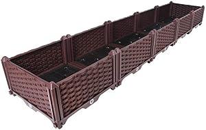 BAOYOUNI Rectangular Raised Garden Bed Kit Indoor Outdoor Plastic Planter Grow Box for Fresh Vegetables, Herbs, Flowers & Succulents, Brown, 76.77'' x 15.35'' x 8.66''