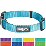 "Blueberry Pet 8 Colors Classic Dog Collar, Medium Turquoise, Small, Neck 12""-16"", Nylon Collars for Dogs"