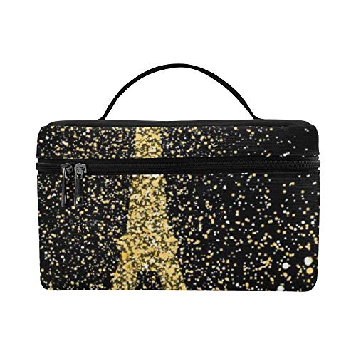 Paris City Landscape Silhouette Gold Cityscape De Pattern Lunch Box Tote Bag Lunch Holder Insulated Lunch Cooler Bag For Women/men/picnic/boating/beach/fishing/school/work