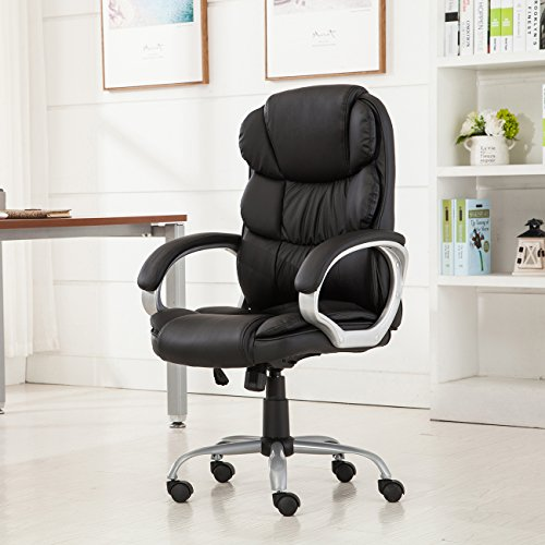 Belleze Bonded Leather Executive Chair Office Chair Swivel- Black by Belleze