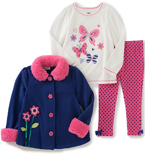Kids Headquarters Baby Girls 3 Pieces Sherpa Jacket with Matching Cuffs Pants Set