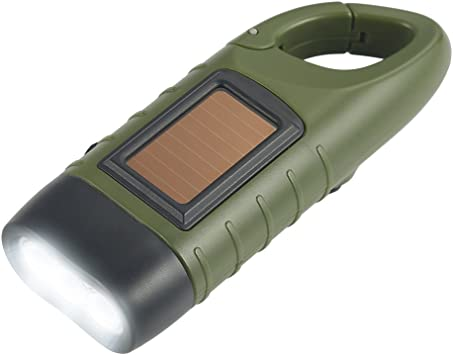 LED Solar Power Emergency Flashlight Hand Crank Wind Up Camping Torch Light