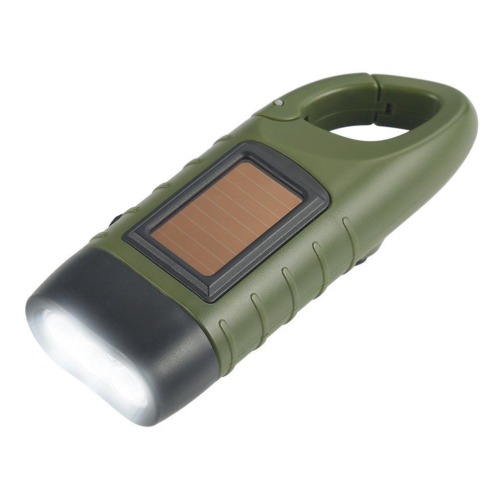 Simpeak Compatible Linterna LED, LED Linterna de Mano Resistente al Agua con Cargador Solar Linterna Dinamo para Ciclismo,Camping, Montañismo - Verde del ejército