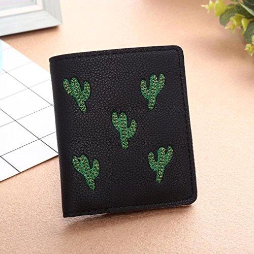 LHWY Mujer Linda Bordado De Cactus Billetera Corta Monedero Portatarjetas Bolso De Mano Negro