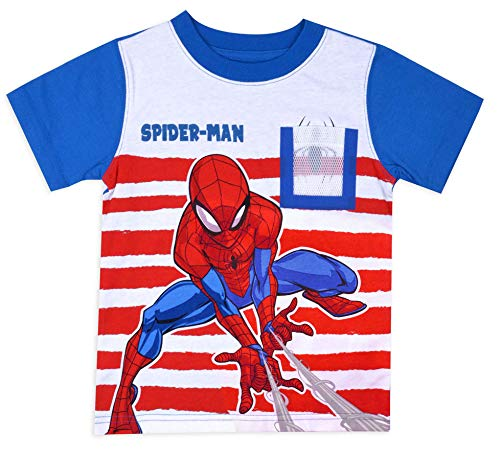 Spiderman Toddler Little Boys Spider-Man Web Pocket Contrast Sleeve Shirt (Blue/Red, 3T)