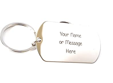 55c4575f9fb6 Amazon.com  Personalized Any name or Message - Custom Gift - Key Chain tag  - Military Dog Tag  Jewelry