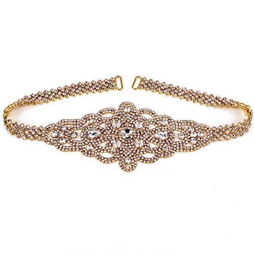 New Design Rhinestone Ribbon Sash Belt for Bridal Women's Wedding Dress Belt (Gold)