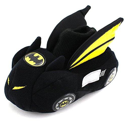 Batman Batmobile Toddler Little Kid Sock Top Slippers (Small / 5-6 M US Toddler, Black/Yellow) (Batman Costumes Cheap)