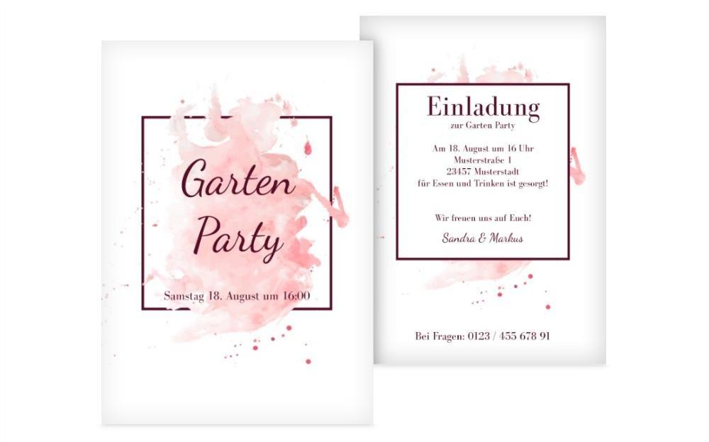 Meine-kartenmanufaktur Weitere Anlässe   Einladung Gartenparty   40 Karten (Format  105.00x148.00mm) Farbe  Rosa B07FKQSWNQ | Moderne Muster  | Economy  | Sonderpreis
