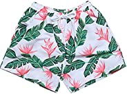 Amberetech Little Boys Hawaii Beach Shorts Kids Summer Swim Trunk Swimsuit Elastic Waist with Pockets