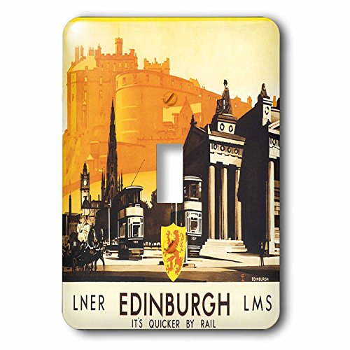 3dRose lsp_169826_1 Edinburgh Quicker by Rail Travel Poster with Horse and Carriage Light Switch Cover by 3dRose