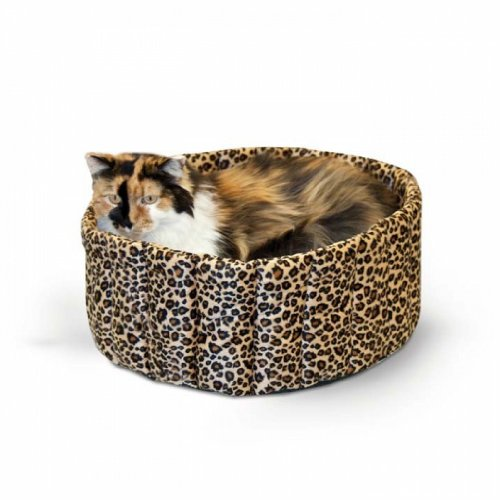 "K&H Pet Products KH9121 Lazy Cup Small Leopard 16"" x 16"" x 7"