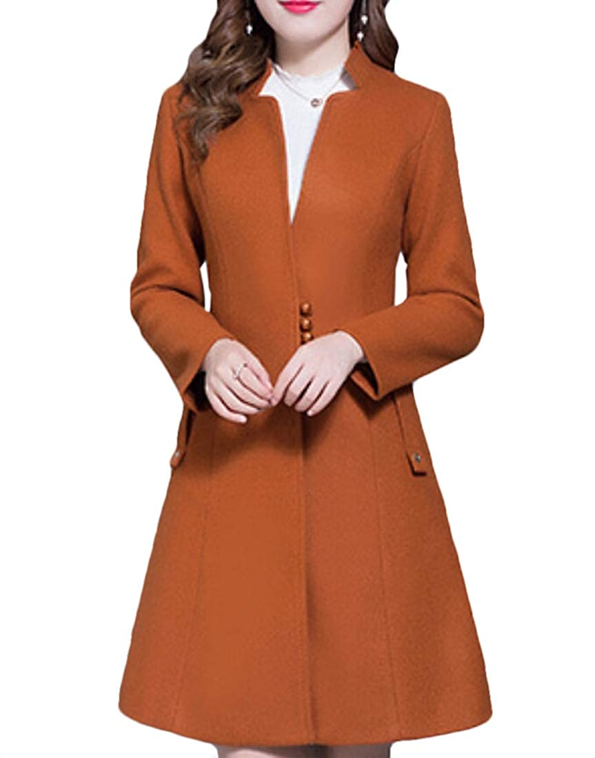 1 jxfd Women Winter Warm Slim Fit Coat Wool Blend Long Coat Overcoat Outwear