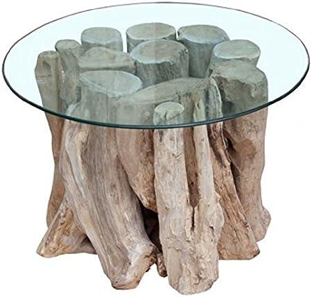 Francky Shop Table Basse Design Ronde 60 Cm Bois Flotte De Teck