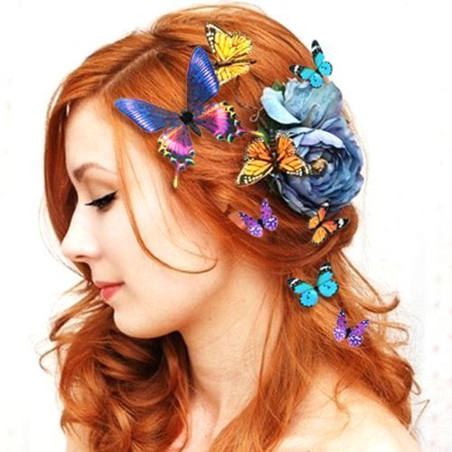 Women Lady Girls Bridal Butterfly Hairclip Beautiful Colorful Butterflies Hairclips Magnet Headdress Hair Clips 5PCS Sizes Colors Random Wedding Party Ornament Urchart
