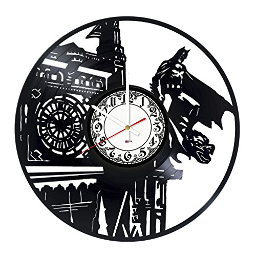 [Superhero Party Vinyl Record Wall Clock - Get unique bedroom or garage wall decor - Gift ideas for teens, brother, men, boys – Action Figures Vintage Unique Art Design] (Batman Forever Catwoman Costume)