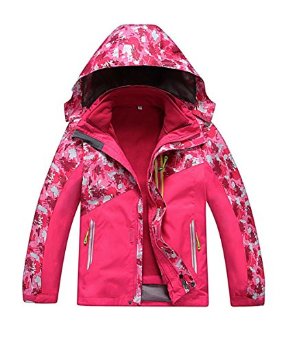 M2C Girls Hooded 3 in 1 Waterproof Fleece Mountain Jacket 9/10 Rose