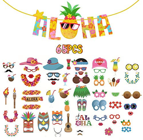 Luau Photo Booth Props 65PCS - DIY Kit with Aloha Pineapple Banner for Hawaiian Leis/Tropical/Tiki/Festivals Celebrations Beach Pool Birthday Holiday Party Reunions Wedding Decorations Favors Supplies ()