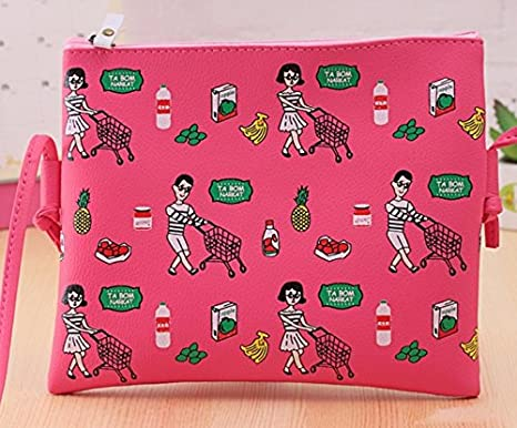 44076648ad Fashion Girls Cute Crossbody Bags Printed With Lovely Cartoon Pattern Flap  Shape (Dark Pink)
