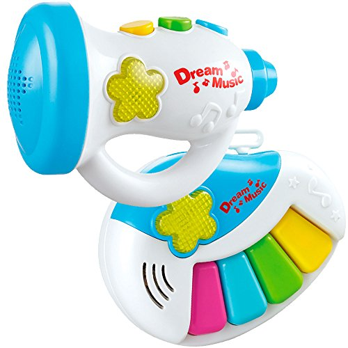 Fun Wee Set Two Musical Instruments, Electric Little Piano Trumpet Your Baby Rockstar Education Development Music Lights - Interactive Educative Toys Children