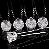 20x Clear Crystal Diamante Wedding Bridal Prom Hair Pins Hair Accessories