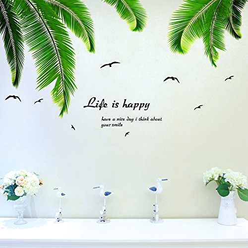 Tree Wall stickers Fresh & Tropical-Wall Decals for Living Room Bedroom Kids Room Bathroom Window Decor (Palm Tree - The Stores Palms