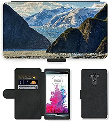 PU Leather Case Coque housse Smartphone Flip Bag Cover Protection // M00421580 Montañas del Paisaje Enorme Glaciar // LG G3: Amazon.es: Electrónica