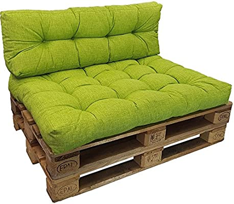 PROHEIM Cojines palés Tino Lounge Ideales para Exteriores - 1 cojín de Asiento 120 x 80 x 15 cm + 1 cojín de Respaldo Largo 120 x 40 x 10-20 cm, ...