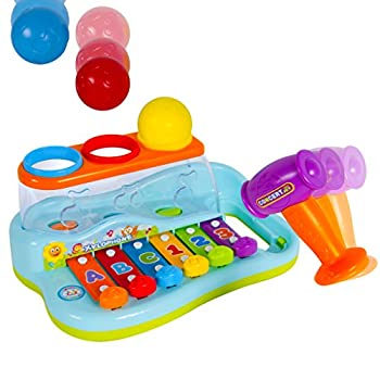 Liberty Imports Rainbow Xylophone Piano Pounding Bench for Kids with Balls and Hammer